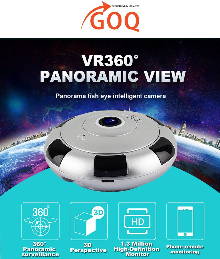 GOQ Mini UFO 360° Panorama WiFi IP Cam Security Camera 720P HD CCTV IR  Night Vision (V380 App)